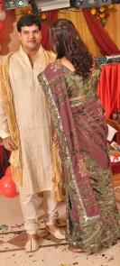 Beautiful saree and gold sherwani