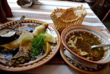 My Ukrainian lunch - Spinach dumplings and mushroom soup